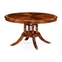 Mahogany and satinwood round to oval dining table