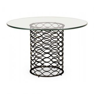 Interlaced bronze & glass dining table 1