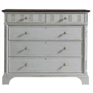 Charleston Regency Franklin Media Chest in Gray linen 1