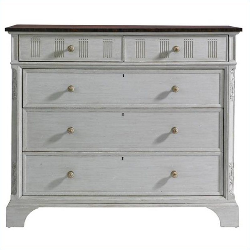 Charleston Regency Franklin Media Chest in Gray linen