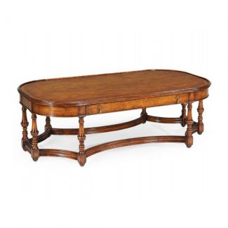 Large walnut coffee table with eight legs 1