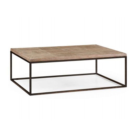 Limed oak & iron coffee table