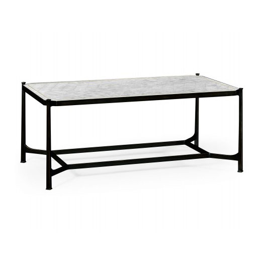 ÉglomisÉ & bronze iron rectangular coffee table