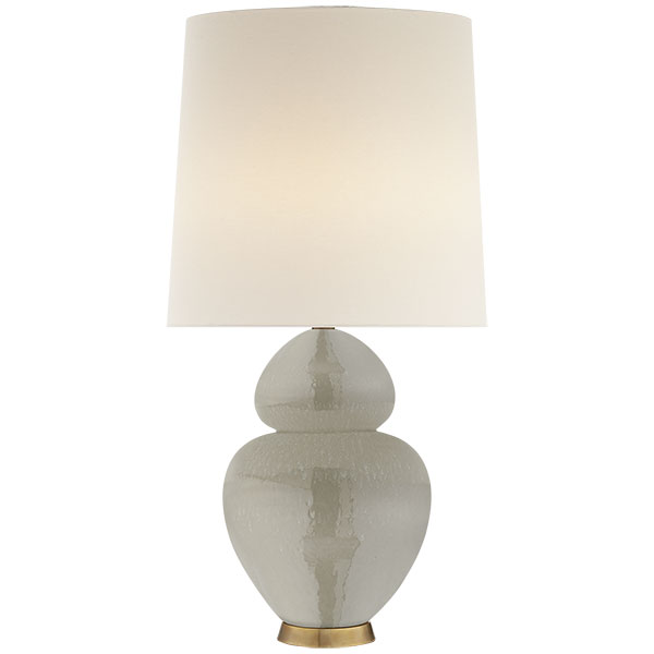 Michelena Table Lamp in Shellish Grey with Linen Shade 1