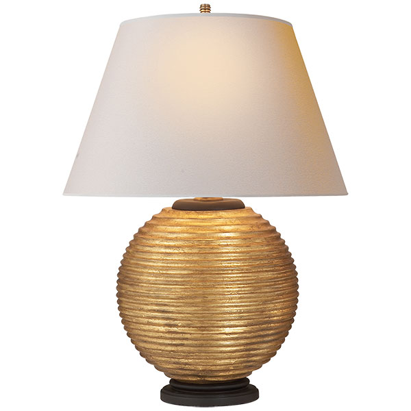 Hugo Table Lamp in Gilded Wood with Natural Paper Shade 1