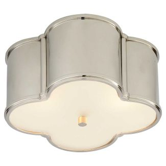 Basil Small Flush Mount in Polished Nickel with Frosted Glass 1