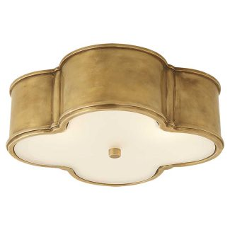 Basil Large Flush Mount in Natural Brass with Frosted Glass