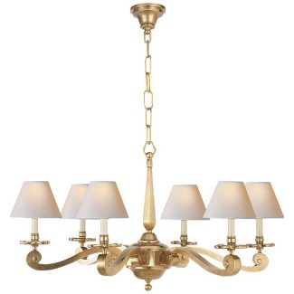 Myrna Chandelier in Natural Brass with Natural Paper Shades 1