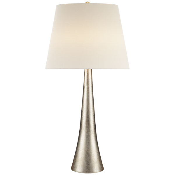 Dover Table Lamp in Burnished Silver Leaf with Linen Shade 1