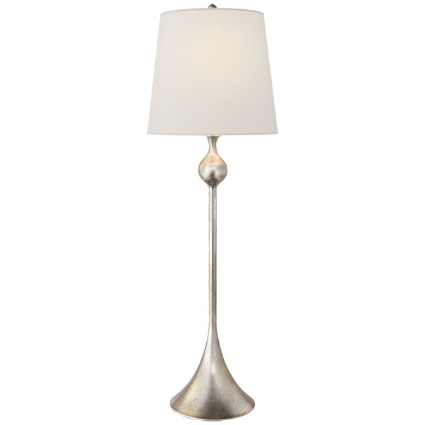 Dover Buffet Lamp in Burnished Silver Leaf with Linen Shade 1