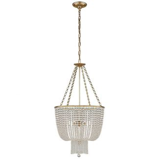 Jacqueline Chandelier in Hand-Rubbed Antique Brass with Clear Glass