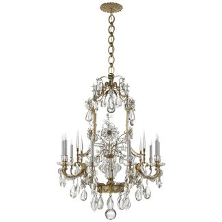 Vestry Chandelier in Hand-Rubbed Antique Brass with Crystal 1