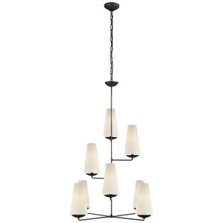 Fontaine Vertical Chandelier in Aged Iron with Linen Shades 1