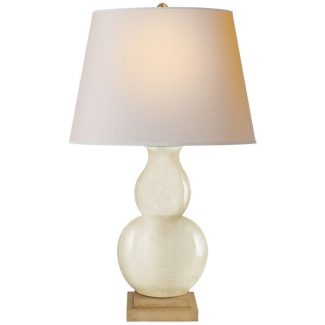 Narrow Neck Vase Large Table Lamp in Celadon Crackle with Natural Paper Shade