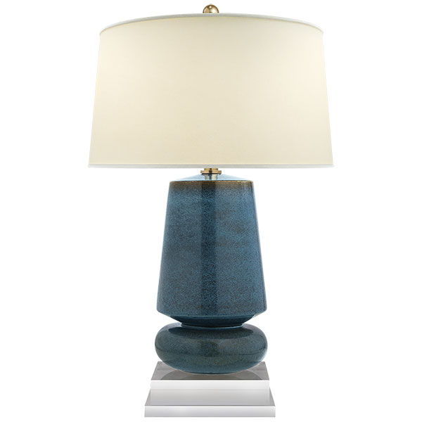 Parisienne Small Table Lamp in Oslo Blue with Natural Percale Shade 1