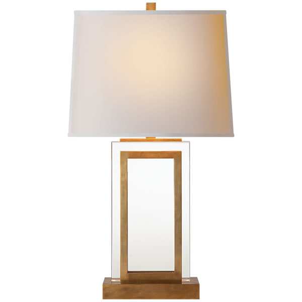 Crystal Panel Table Lamp in Antique-Burnished Brass with Natural Paper Shade 1