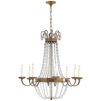 Paris Flea Market Large Chandelier in Antique-Burnished Brass with Seeded Glass 1