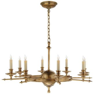 Leaf and Arrow Large Chandelier in Antique-Burnished Brass 1