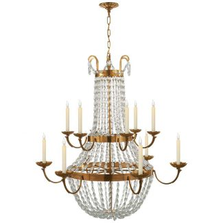 Paris Flea Market Grande Chandelier in Antique-Burnished Brass with Seeded Glass 1