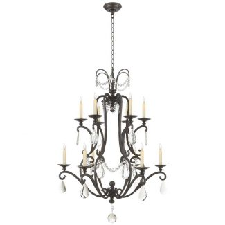 Orvieto Large Chandelier in Aged Iron with Seeded Glass 1