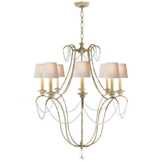 Montmarte Chandelier in Old White and Glass with Natural Paper Shades 1