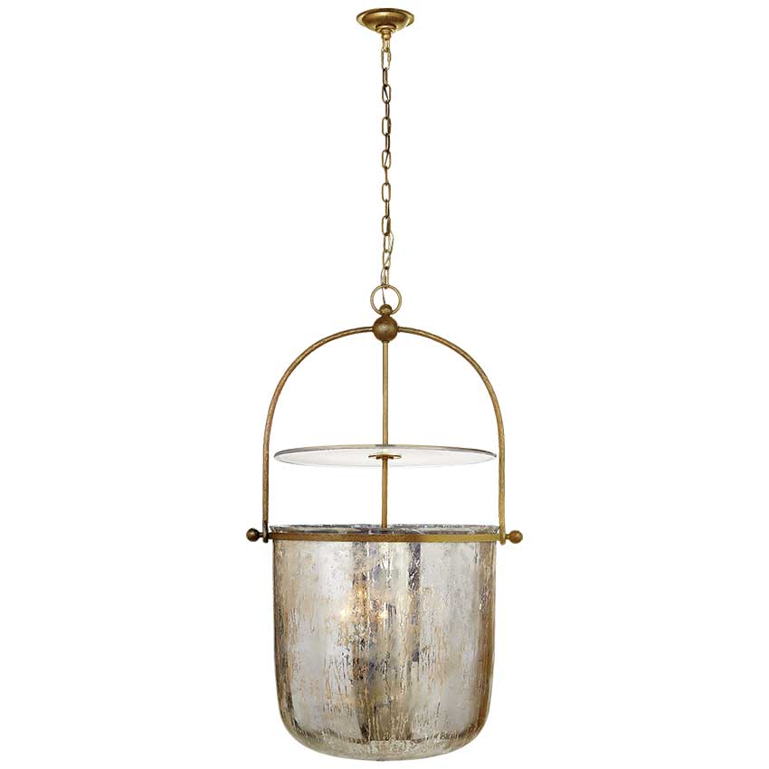 Lorford Large Smoke Bell Lantern in Gilded Iron with Antiqued Mercury Glass 1
