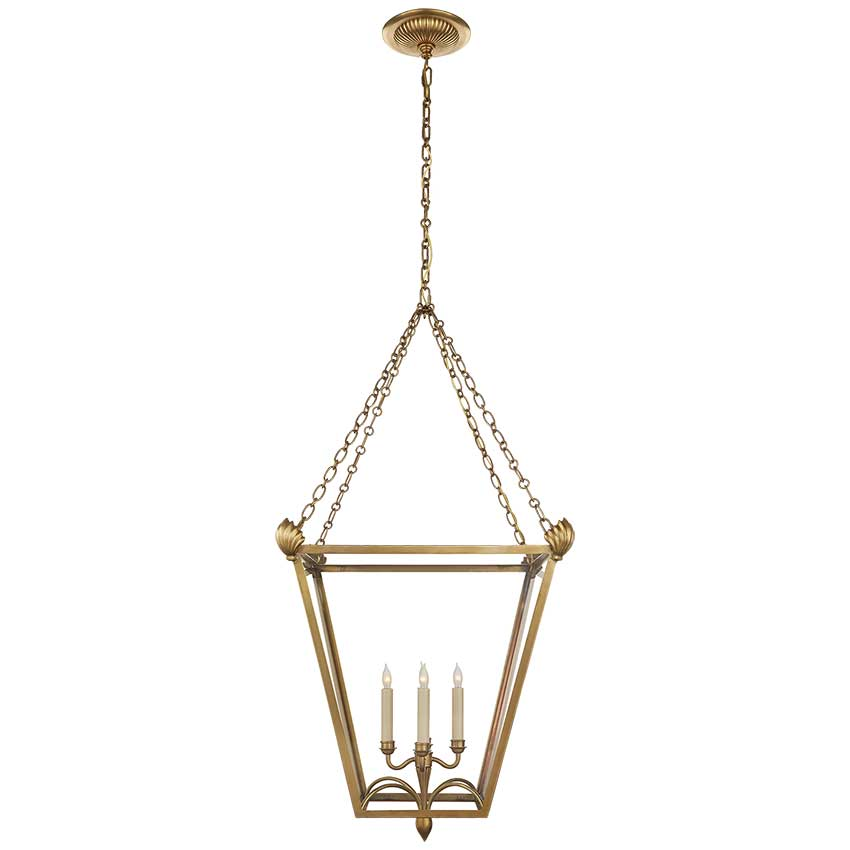 Dumfries Large Lantern in Antique-Burnished Brass with Clear Glass 1