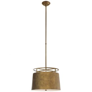 Bryden Medium Round Pendant in Gilded Iron