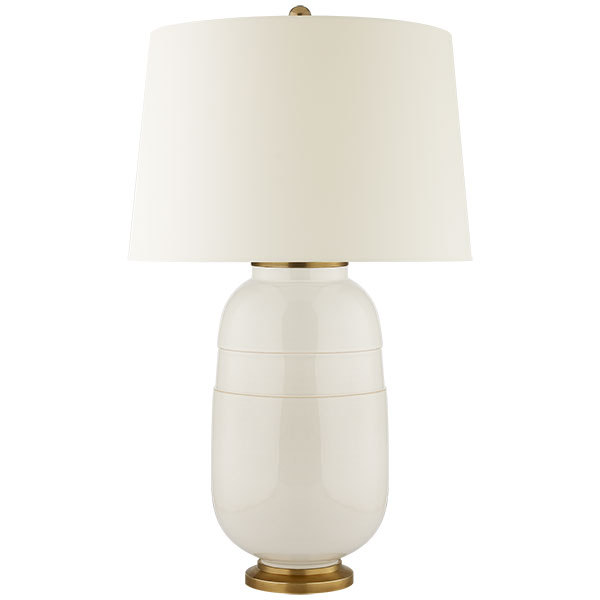 Newcomb Medium Table Lamp in Ivory with Natural Percale Shade 1