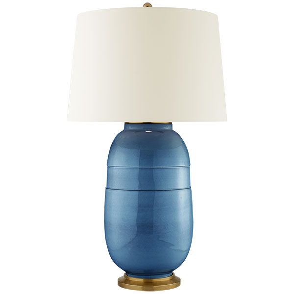Newcomb Large Table Lamp in Aqua Crackle with Natural Percale Shade 1