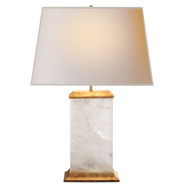 Crescent Table Lamp in Quartz and Antique Gold Leaf with Natural Paper Shade 1