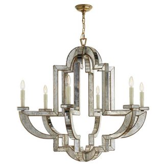 Lido Large Chandelier in Antique Mirror and Hand-Rubbed Antique Brass 1