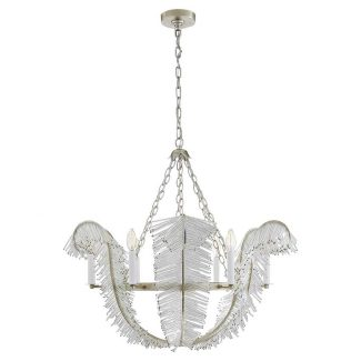 Calais 34″ Chandelier in Burnished Silver Leaf 1