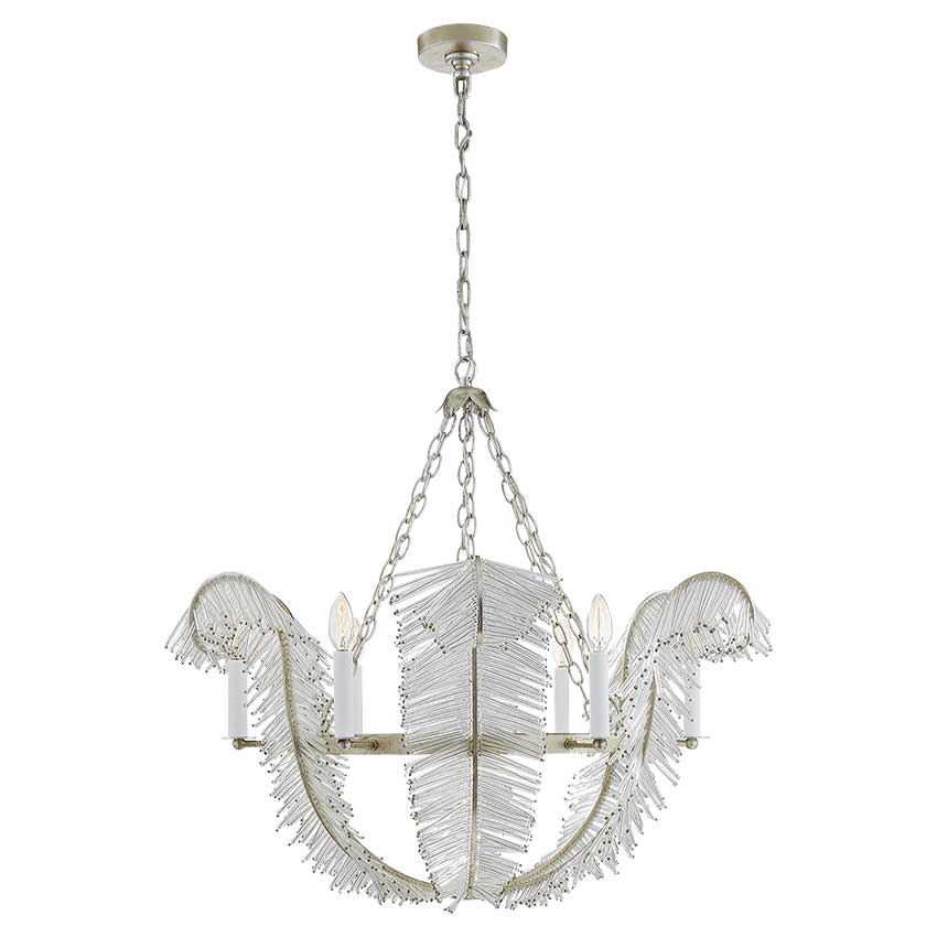 "Calais 34"" Chandelier in Burnished Silver Leaf"
