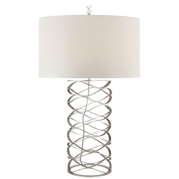 Bracelet Table Lamp in Burnished Silver Leaf with Linen Shade 1