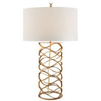 Bracelet Table Lamp in Gilded Iron with Linen Shade