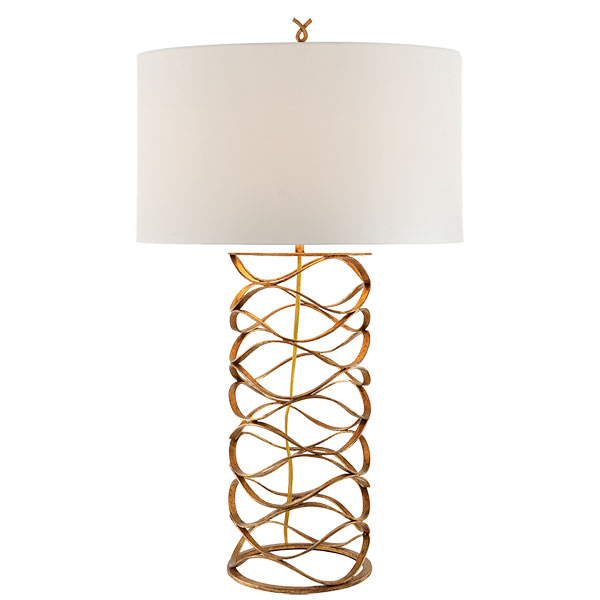 Bracelet Table Lamp in Gilded Iron with Linen Shade 1
