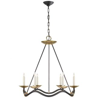 Choros Chandelier in Aged Iron with Hand-Rubbed Antique Brass Accents 1