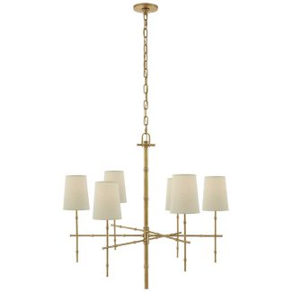 Grenol Medium Modern Bamboo Chandelier in Hand-Rubbed Antique Brass with Natural Percale Shades 1