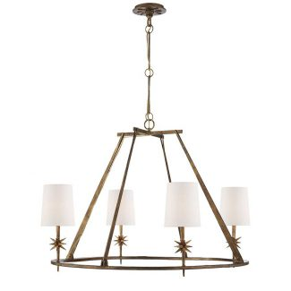 Etoile Round Chandelier in Gilded Iron with Natural Paper Shades 1