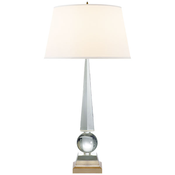 Leigh Table Lamp in Crystal and Gild with Silk Shade 1