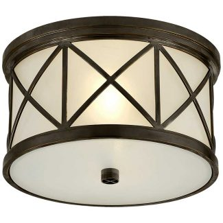 Montpelier Small Flush Mount in Bronze with Frosted Glass