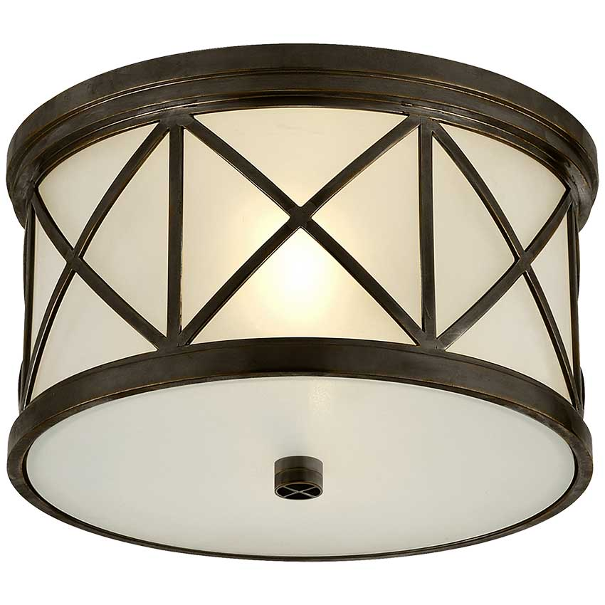 Montpelier Small Flush Mount in Bronze with Frosted Glass 1