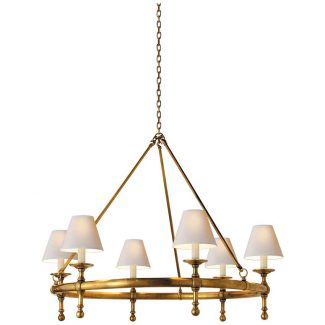 Classic Ring Chandelier in Hand-Rubbed Antique Brass with Natural Paper Shades 1
