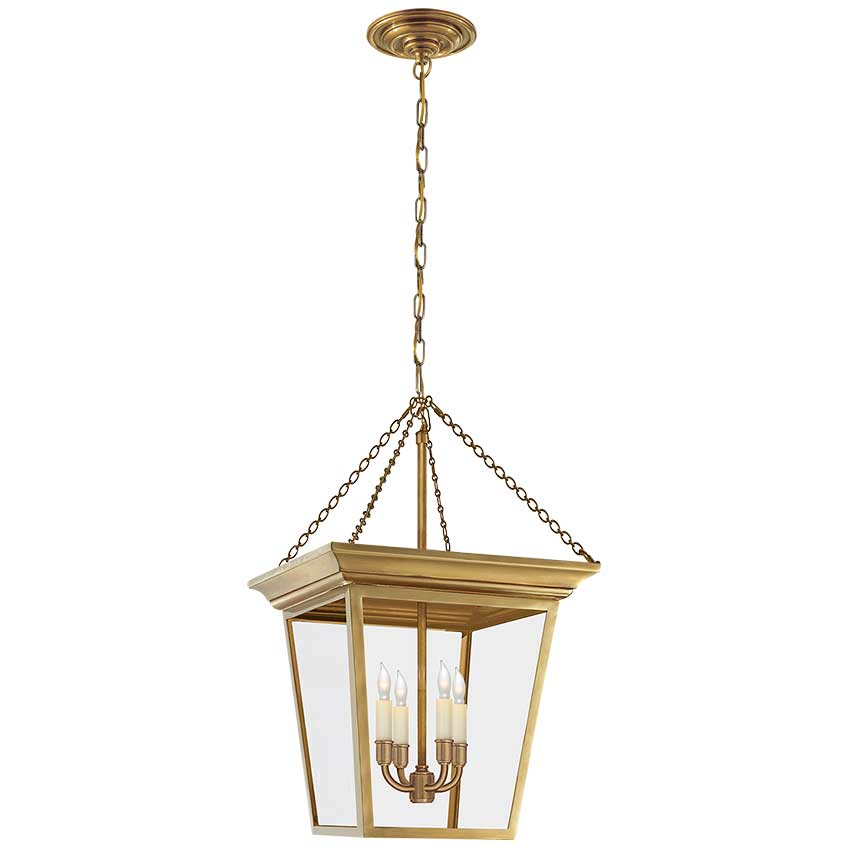 Cornice Small Lantern in Hand-Rubbed Antique Brass 1