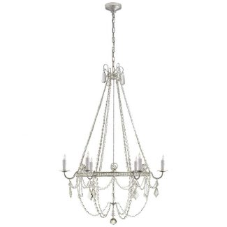 Sharon Medium Chandelier in Burnished Silver Leaf with Crystal Trim