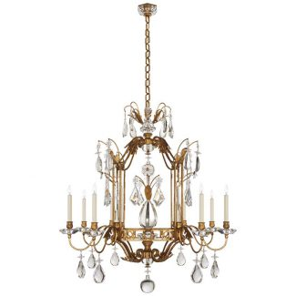 Whitley Medium Chandelier in Gilded Iron with Crystal 1