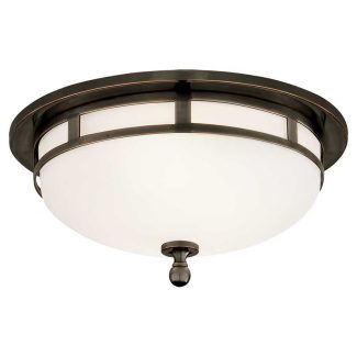 Openwork Small Flush Mount in Bronze with Frosted Glass