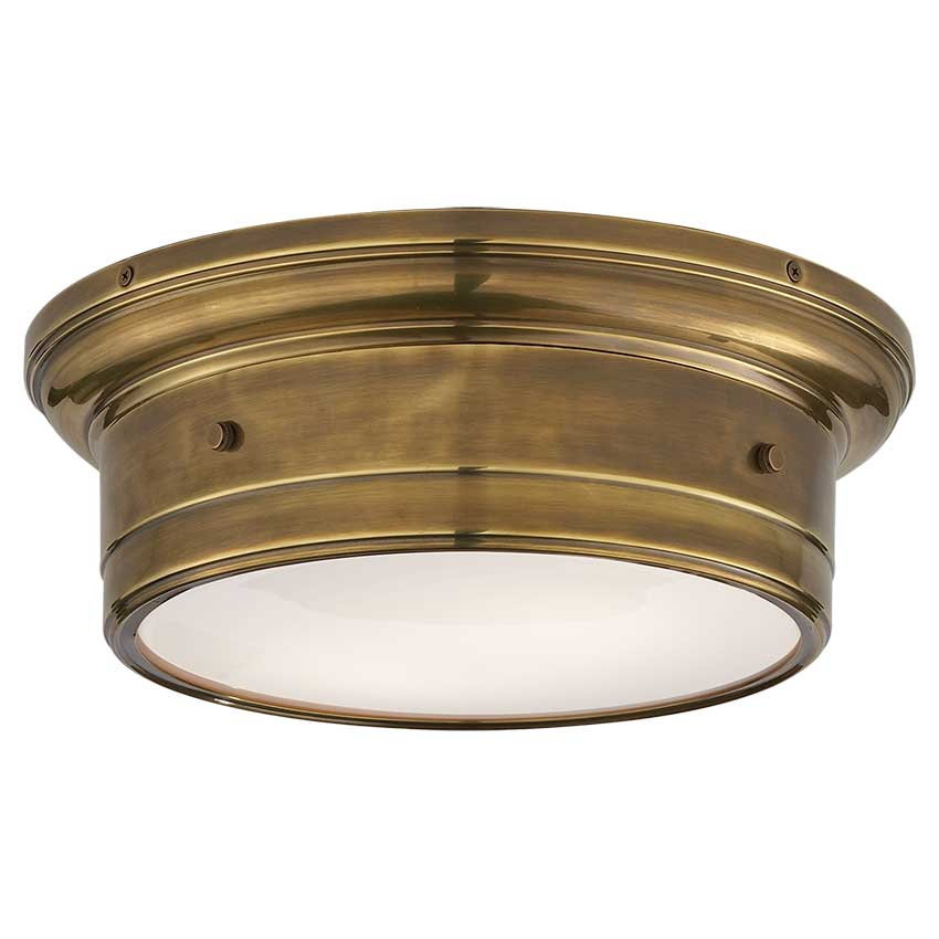 Siena Small Flush Mount in Hand-Rubbed Antique Brass with White Glass 1