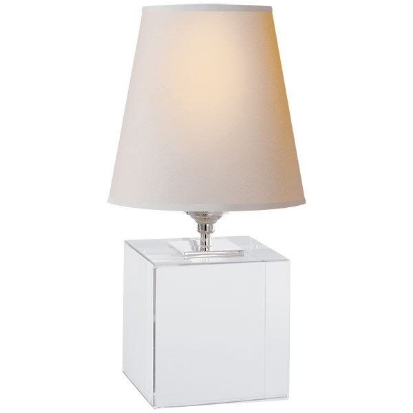 Terri Cube Accent Lamp in Crystal with Natural Paper Shade 1